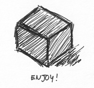 a black box with the text 'enjoy!' written under.
