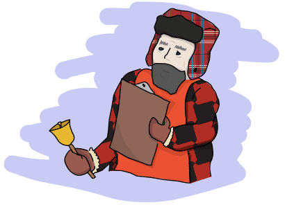 man in a plaid shirt, winter hat, with a clipboard and a bell