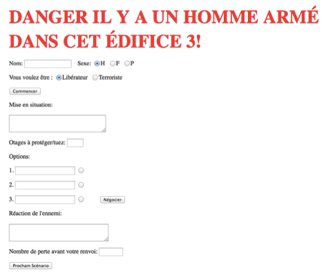 HTML form of an old browser game named 'DANGER IL Y A UN HOMME ARMÉ DANS CET ÉDIFICE 3'