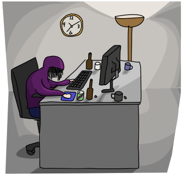 a woman in purple hoodie, slouched over her keyboard with her desk full of empty mugs and bottles