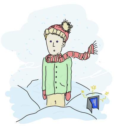 little printf, with a red and yellow tuque, similarly colored scarf, green coat, red mittens, and beige-yellow pants, standing in snow with a broken laptop at his sides