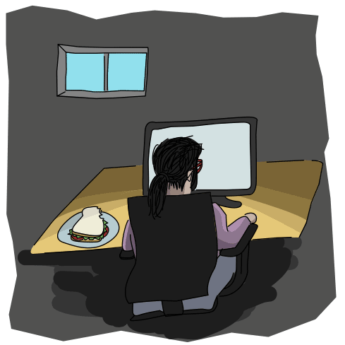 nondescript programmer sitting back to the viewer in the dark, with a sandwich on their desk