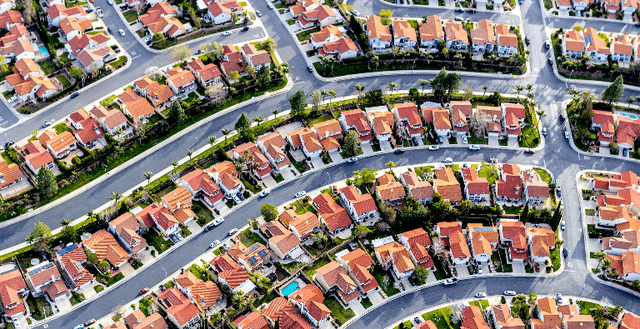 Aerial stock photo of an American suburb