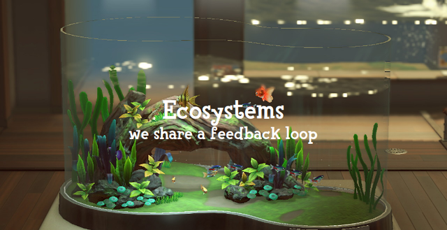 'Ecosystems; we share a feedback loop': a picture of an in-game aquarium within the game's museum
