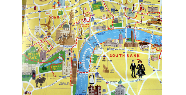 A cartoony tourist map of London's main attractions