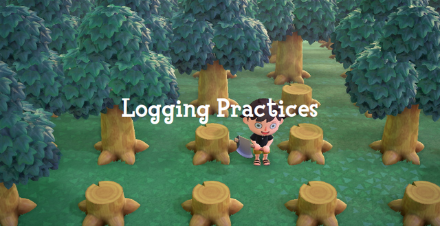 'Logging Practices': a game character chopping down trees