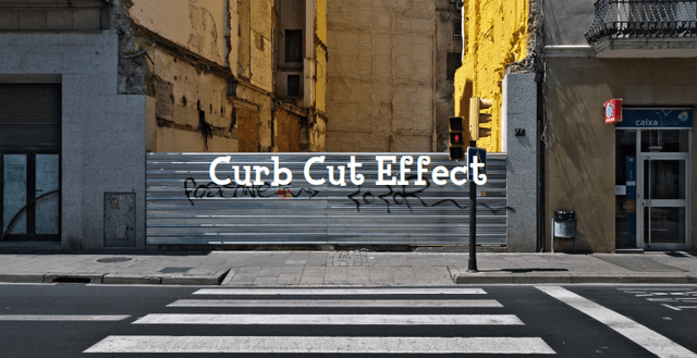 'Curb Cut Effect': a sidewalk with the classic curb cut in it